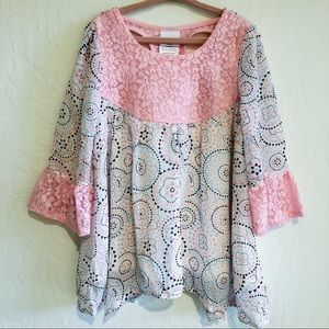 Nannette Kids Flowy Pink Blouse with Lace